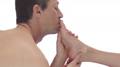Man Foot Fetish Kissing Toes Stock Footage