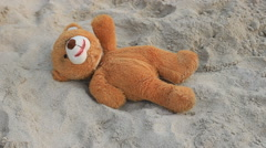 Holiday for happy bear marionette Stock Footage
