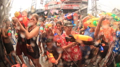 Water fight songkran festival Stock Footage