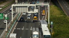 Heavy Truck Traffic on Japanese Highway -   Tokyo Japan - stock footage