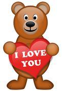 Fluffy Bear with heart - stock illustration