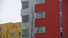Multi-colored apartment building flats establishing shot, Reykjavik, Iceland. Arkistovideo
