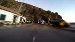 Driving through old ancient tunnel in Madeira Stock Footage