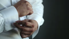 Man wears white shirt and cufflinks Stock Footage