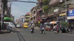 Busy Street in Phnom Penh, Cambodia, Asia [ProRes] Stock Footage