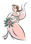Pretty feminine bride or bridesmaid in pink - stock illustration