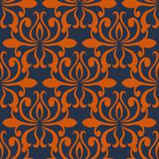 Large busy bold arabesque seamless pattern - stock illustration