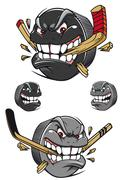 Angry evil hockey puck chomping a stick Stock Illustration