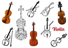 Set of vector violin icons - stock illustration