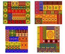 Assorted Colorful Ethnic Patterns for Backgrounds Stock Illustration