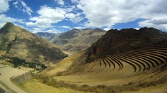 Panorama of Pisac ruins Stock Footage
