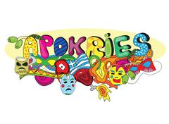 Greek holiday Apokries in doodle style - stock illustration