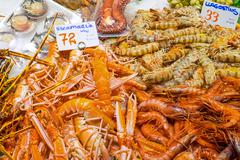 Prawns and shrimps for sale Stock Photos