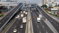Time Lapse of Heavy Truck Traffic on Japanese Highway -   Tokyo Japan - stock footage