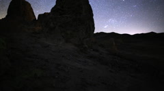 3 Axis Motion Control Astro Time Lapse of Stars & Rock Formation Stock Footage
