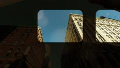 City architecture background. train window view. urban style Stock Footage
