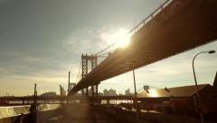 Bridge road street. shadow silhouette. sun flare light. traffic transportation Stock Footage