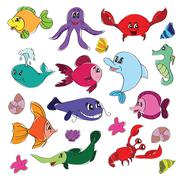 Marine life doodles - Hand drawn collection - stock illustration
