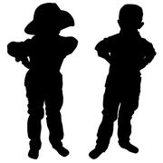Silhouettes of two little boys Stock Illustration