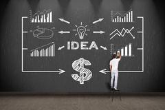 Businessman drawing business plan Stock Photos