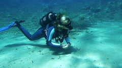 Female Scuba Diver Stock Footage