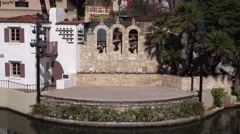San Antonio downtown outdoor stage Arneson Theatre along riverwalk Stock Footage