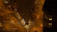 overlooking illuminated city streets at night. traffic cars lights - stock footage