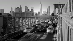 Stock Video Footage of black and white background of city skyline and traffic cars