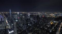 overlooking city panorama at night. urban night lights. metropolis urban style - stock footage