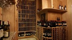 Wine cellar room Stock Footage