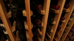 Wine rack tracking Stock Footage