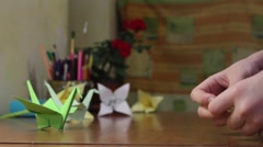 Making Origami Mouse. Stock Footage