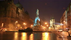 Grunwald Monument on Jana Matejki Square at night, Krakow Stock Footage