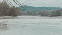 Winter landskape next to the river. Pan Stock Footage