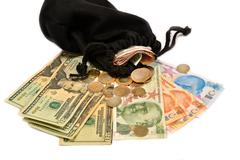 Turkish money and pouch on white background - stock photo