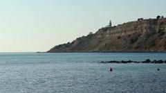 Dardanelles strait - lighthouse on Gelibolu peninsula - Canakalle, Turkey Stock Footage