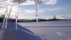 Group of melting icicle Stock Footage