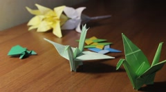 Japan Origami. Figures. Stock Footage