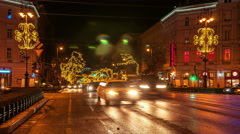 Budapest - Andrassy Avenue at night Stock Footage