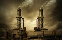 Smoking stacks of the Factory - stock illustration