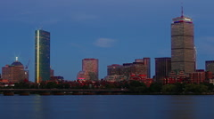 Boston Skyline Timelapse Night on Charles River with Glow Stock Footage