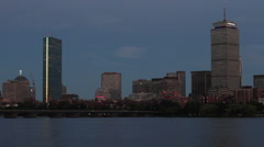 Boston Skyline Time Lapse Night Charles River Stock Video Stock Footage