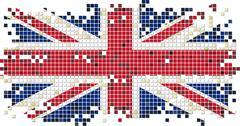 British grunge tile flag. Vector illustration - stock illustration