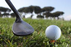Golf putter and ball Stock Photos