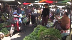 Busy Asian Market General View [ProRes] Stock Footage