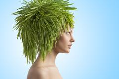 beuty portrait og ecology girl - stock photo