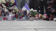 Charlie Hebdo Shooting Je Suis Charlie Paris France Memorial Shrine Stock Footage