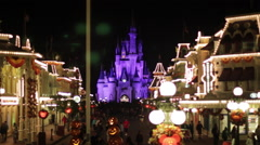 Disneyworld Cinderallas Castle Crowd Night Real Time Stock Footage