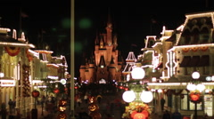 Disneyworld Cinderallas Castle Fast Timelapse with Crowd at Night - stock footage