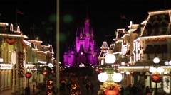 Disneyworld Cinderella's Castle Night Medium Timelapse Stock Footage
